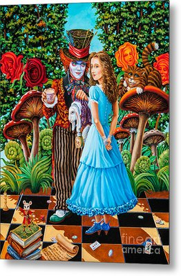 Metal Print featuring the painting Alice And Mad Hatter. Part 2 by Igor Postash