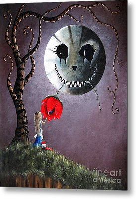 Alice In Wonderland Original Artwork - Alice And The Dripping Rose Metal Print by Shawna Erback