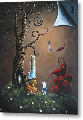 Alice In Wonderland Original Artwork - Key To Wonderland Metal Print by Shawna Erback