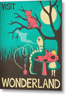 Alice In Wonderland Travel Poster - Vintage Version Metal Print