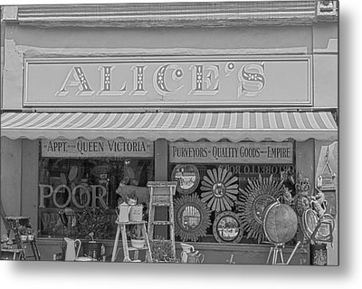 Alice's Antiques In Black And White Metal Print by Georgia Fowler