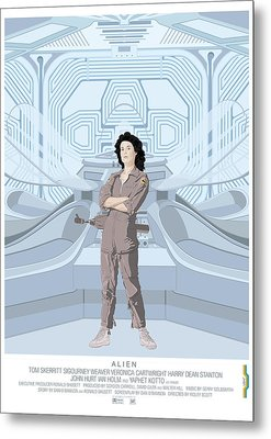 Alien 1979 Movie Poster - Feat. Ripley Metal Print by Peter Cassidy