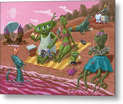 Alien Beach Vacation Metal Print by Martin Davey