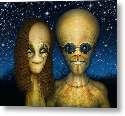 Alien Couple Metal Print by James Larkin