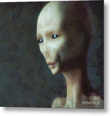 Alien Grey Thoughtful  Metal Print by Pixel Chimp