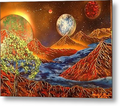 Metal Print featuring the painting Alien Worlds by Michael Rucker