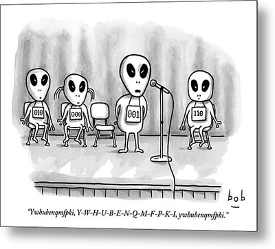 Aliens Participating In A Spelling Bee Metal Print by Bob Eckstein