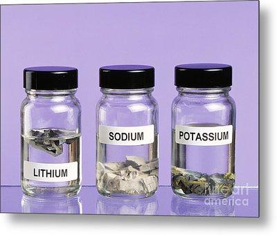 Alkali Metals In Jars Metal Print by Martyn F. Chillmaid