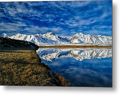 Alkali Pond Reflection Metal Print by Cat Connor