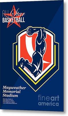 All American Basketball Retro Poster Metal Print by Aloysius Patrimonio