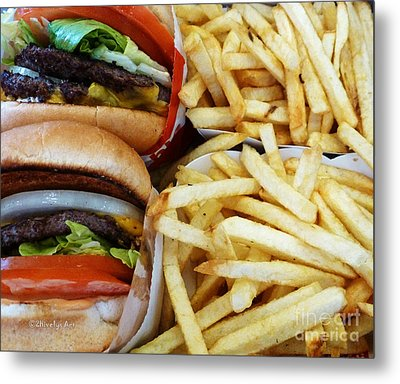 All American Cheeseburgers And Fries Metal Print by Methune Hively