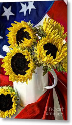 All American Sunflowers Metal Print