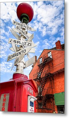 All Signs Point To Little Italy - Boston Metal Print by Mark E Tisdale
