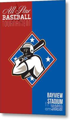 All Star Baseball Tournament Retro Poster Metal Print