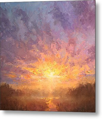 Impressionistic Sunrise Landscape Painting Metal Print by Karen Whitworth