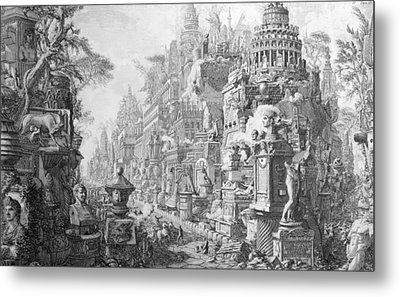 Allegorical Frontispiece Of Rome And Its History From Le Antichita Romane  Metal Print by Giovanni Battista Piranesi