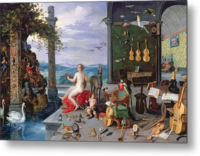 Allegory Of Music Oil On Canvas Metal Print by Jan the Elder Brueghel