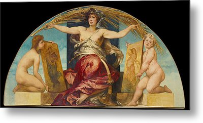 Allegory Of Religious And Profane Painting  Metal Print by Hans Makart