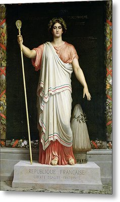 Allegory Of The Republic, 1848 Oil On Canvas Metal Print by Dominique Louis Papety