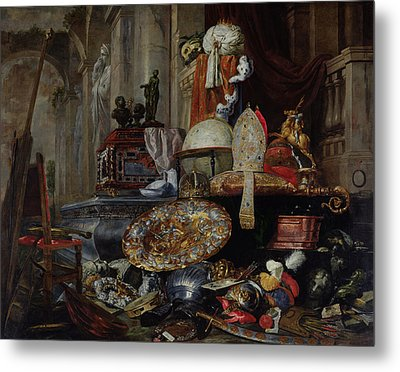 Allegory Of The Vanities Of The World, 1663 Oil On Canvas Metal Print