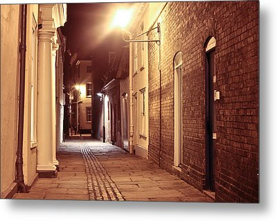 Alley At Night Metal Print by Tom Gowanlock