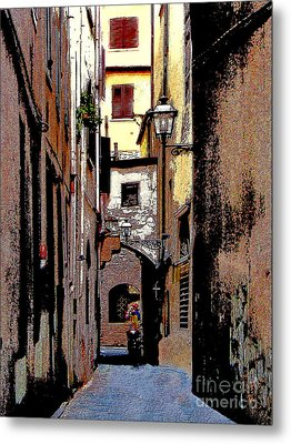 Metal Print featuring the digital art Alley In Florence 2 Digitized by Jennie Breeze