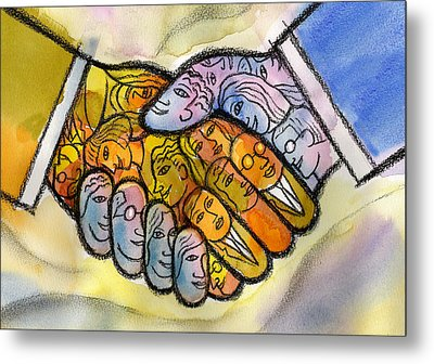 Corporate Merger Metal Print by Leon Zernitsky