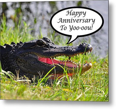 Alligator Anniversary Card Metal Print by Al Powell Photography USA