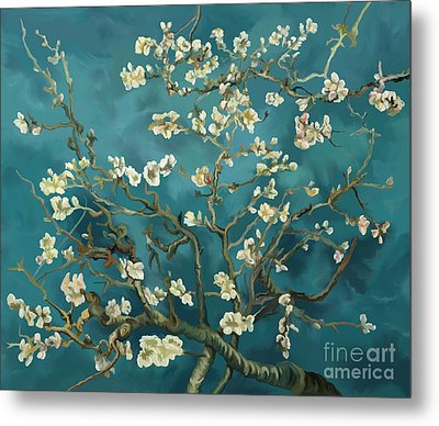 Metal Print featuring the painting Almond Blossoms' Reproduction by Tim Gilliland