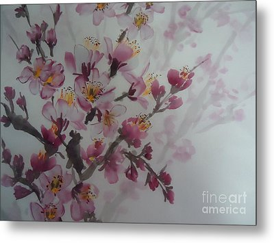 Metal Print featuring the painting Almond Flower by Dongling Sun