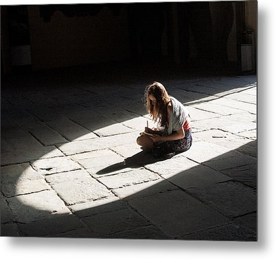 Alone In A Pool Of Light Metal Print