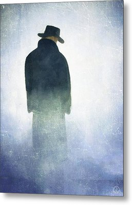 Alone In The Fog Metal Print