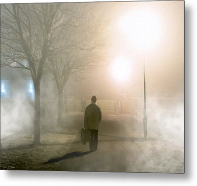 Alone In The Fog In Galway Metal Print by Mark E Tisdale