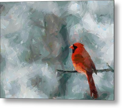 Alone Red Bird Metal Print