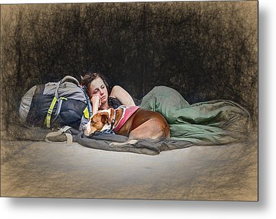 Alone With Her Dog Metal Print