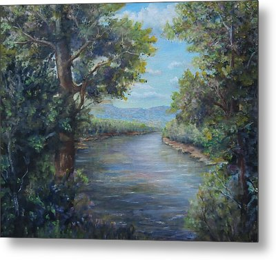 Metal Print featuring the painting Along The Canal New Hope by  Luczay