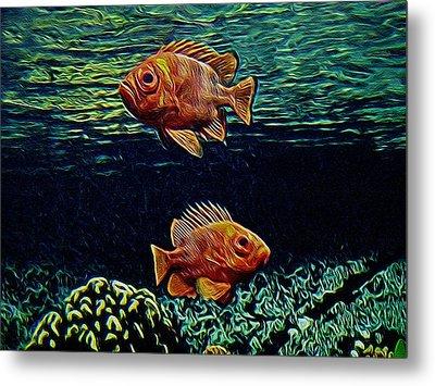 Along The Reef Digital Art Metal Print by Ernie Echols