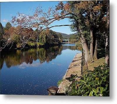 Along The River In Shelbourne Falls Metal Print