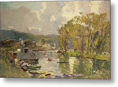 Along The Seine At Meudon Metal Print by Albert Charles Lebourg