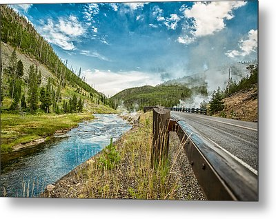 Along The Volcanic Yellowstone Road Metal Print by Andres Leon