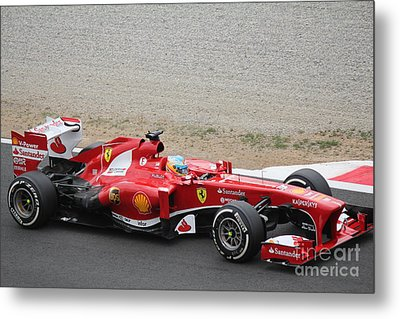 Alonso In His Ferrari Metal Print by David Grant