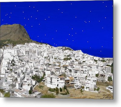 Alora Malaga Spain At Twilight Metal Print