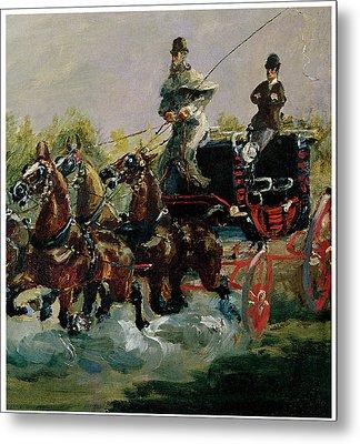Alphonse De Toulouse-lautrec Driving His Four-in-hand Metal Print by Henri De Toulouse-Lautrec