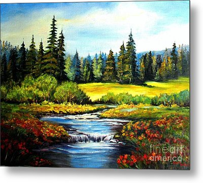 Alpine Meadow Metal Print by Hazel Holland