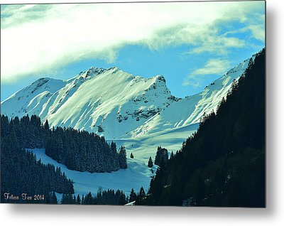 Alps Green Profile Metal Print
