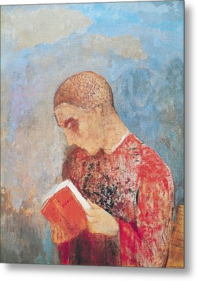 Alsace Or Monk Reading Metal Print by Odilon Redon