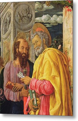 Altarpiece From San Zeno Maggiore, Verona, Detail Of The Left Hand Panel Showing Saint Peter Metal Print by Andrea Mantegna