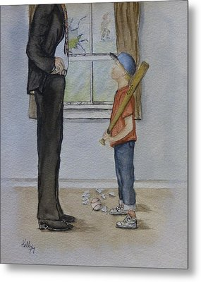 Am I In Trouble Dad... Broken Window Metal Print by Kelly Mills