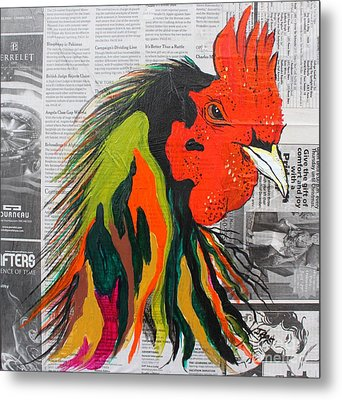 Metal Print featuring the painting Amadeo The Tuscan Rooster by Janice Rae Pariza