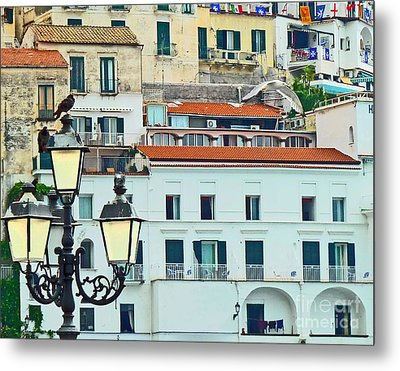 Metal Print featuring the photograph Amalfi Birds And Lamps by Cheryl Del Toro